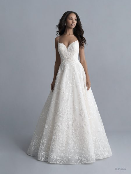 Spaghetti Strap Floral Beaded And Embroidered Ball Gown Wedding Dress With Sparkle Sequins by Disney Fairy Tale Weddings Platinum Collection - Image 1
