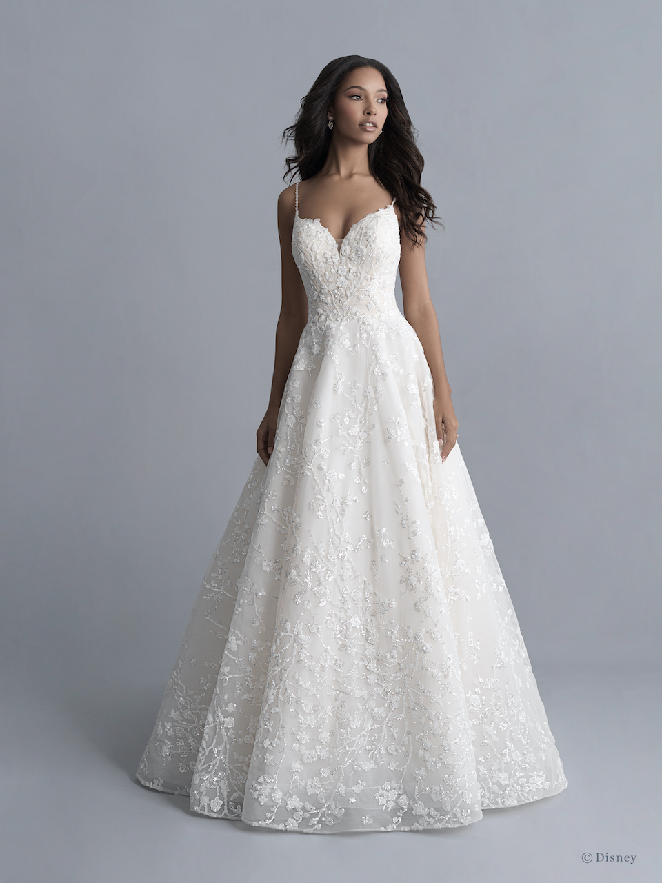 Spaghetti Strap Floral Beaded And Embroidered Ball Gown Wedding Dress With Sparkle Sequins Kleinfeld Bridal,Mermaid Sweetheart Lace Romantic Wedding Wedding Dresses