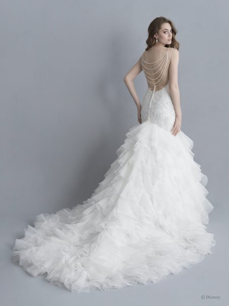 Spaghetti Strap V-neckline Beaded And Embroidered Mermaid Wedding Dress With Ruffle Skirt by Disney Fairy Tale Weddings Platinum Collection - Image 2