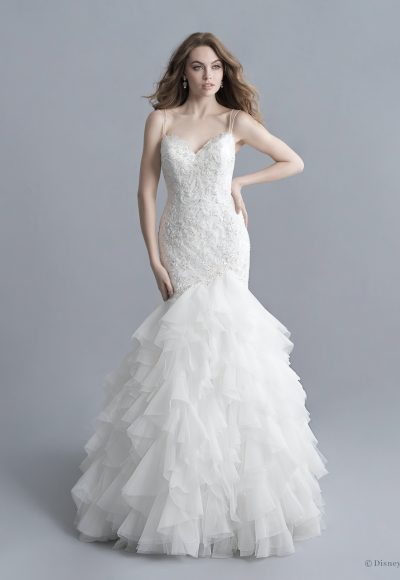 Spaghetti Strap V-neckline Beaded And Embroidered Mermaid Wedding Dress With Ruffle Skirt by Disney Fairy Tale Weddings Platinum Collection