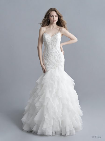 Spaghetti Strap V-neckline Beaded And Embroidered Mermaid Wedding Dress With Ruffle Skirt by Disney Fairy Tale Weddings Platinum Collection - Image 1