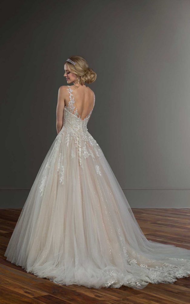 Sleeveless Illusion Neckline Ball Gown Wedding Dress by Martina Liana - Image 2