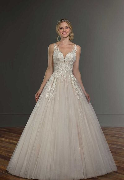 Sleeveless Illusion Neckline Ball Gown Wedding Dress by Martina Liana