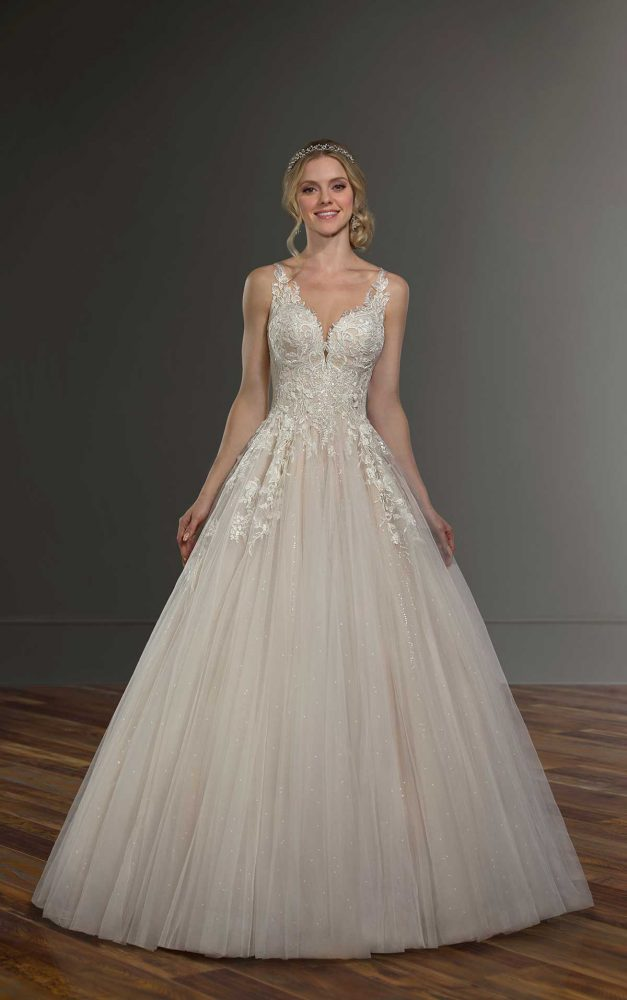 Sleeveless Illusion Neckline Ball Gown Wedding Dress by Martina Liana - Image 1