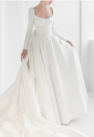 Long Sleeve Simple Ball Gown Wedding Dress by Reem Acra