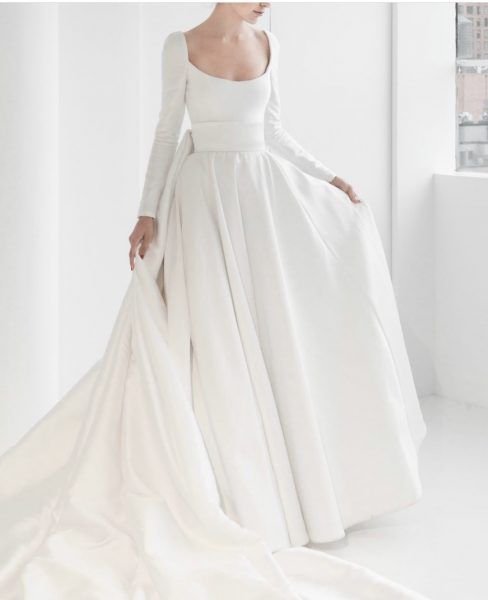 Long Sleeve Simple Ball Gown Wedding Dress by Reem Acra - Image 1