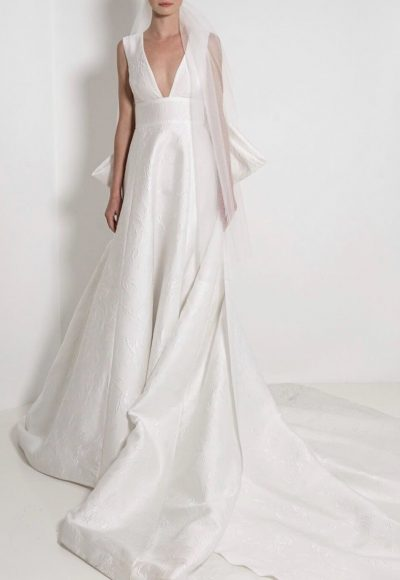 Sleeveless V-Neck Textured Ball Gown Wedding Dress by Reem Acra