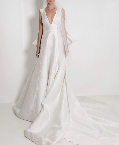 Sleeveless V-Neck Textured Ball Gown Wedding Dress by Reem Acra - Image 1