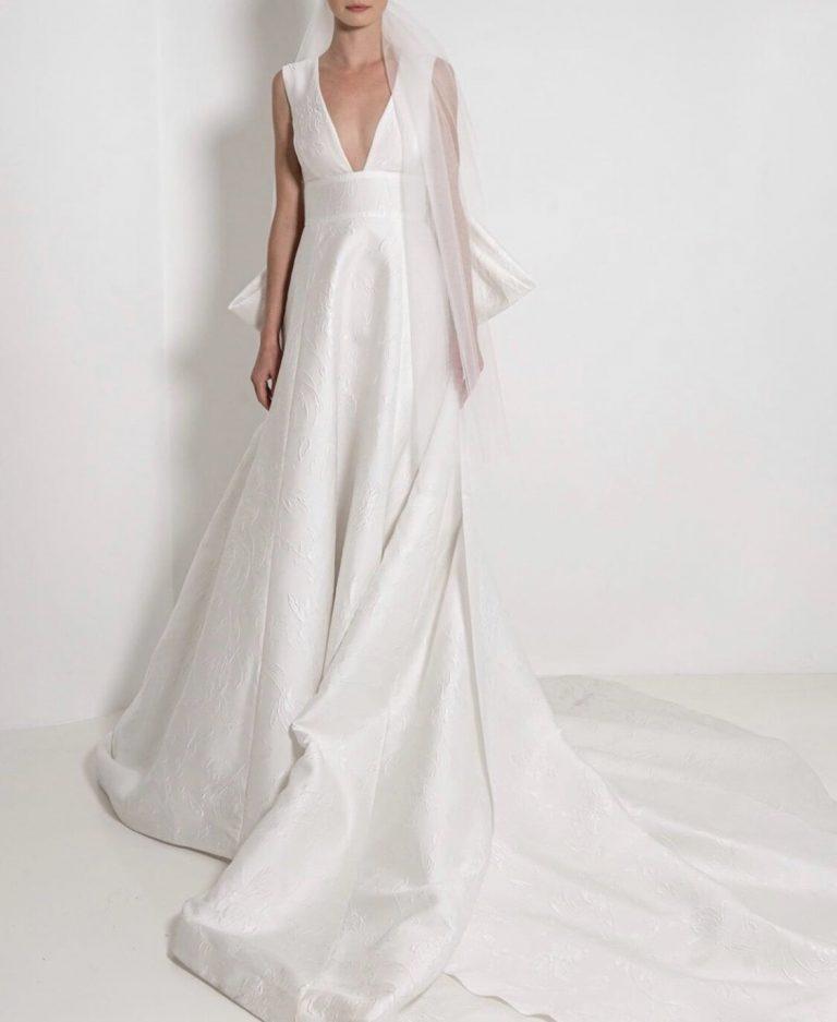 Sleeveless V-Neck Textured Ball Gown Wedding Dress by Reem Acra - Image 1