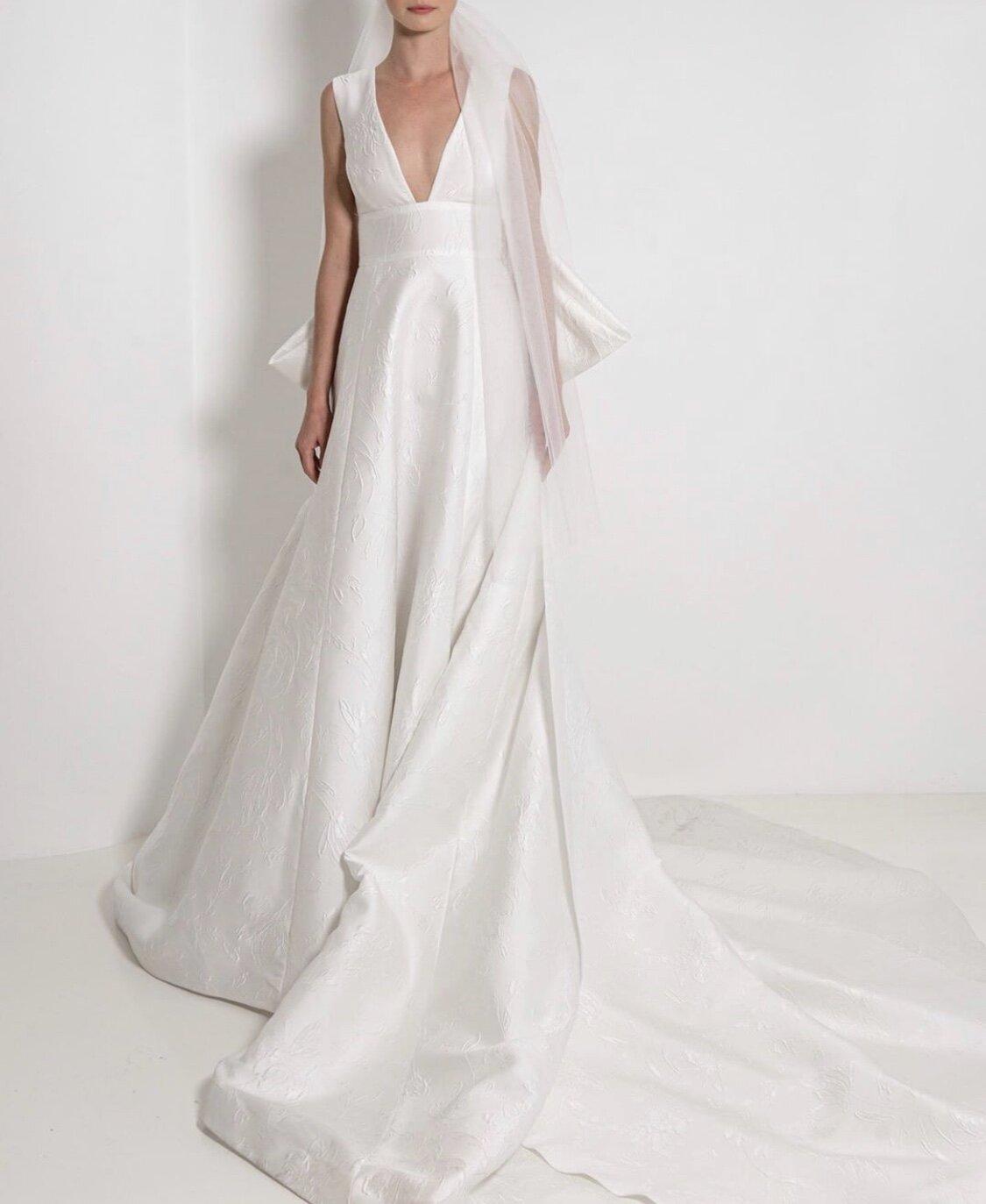 Sleeveless V Neck Textured Ball Gown Wedding Dress Kleinfeld Bridal