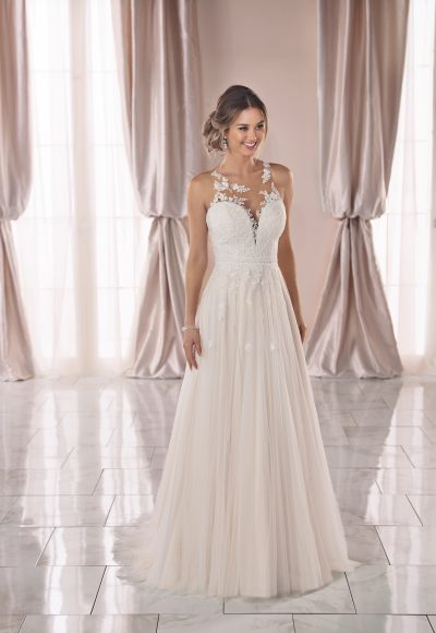 Sleeveless Lace Illusion Neckline A-line Wedding Dress by Stella York