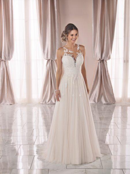 Sleeveless Lace Illusion Neckline A-line Wedding Dress by Stella York - Image 1