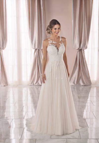 Sleeveless Lace Illusion Neckline A-line Wedding Dress by Stella York