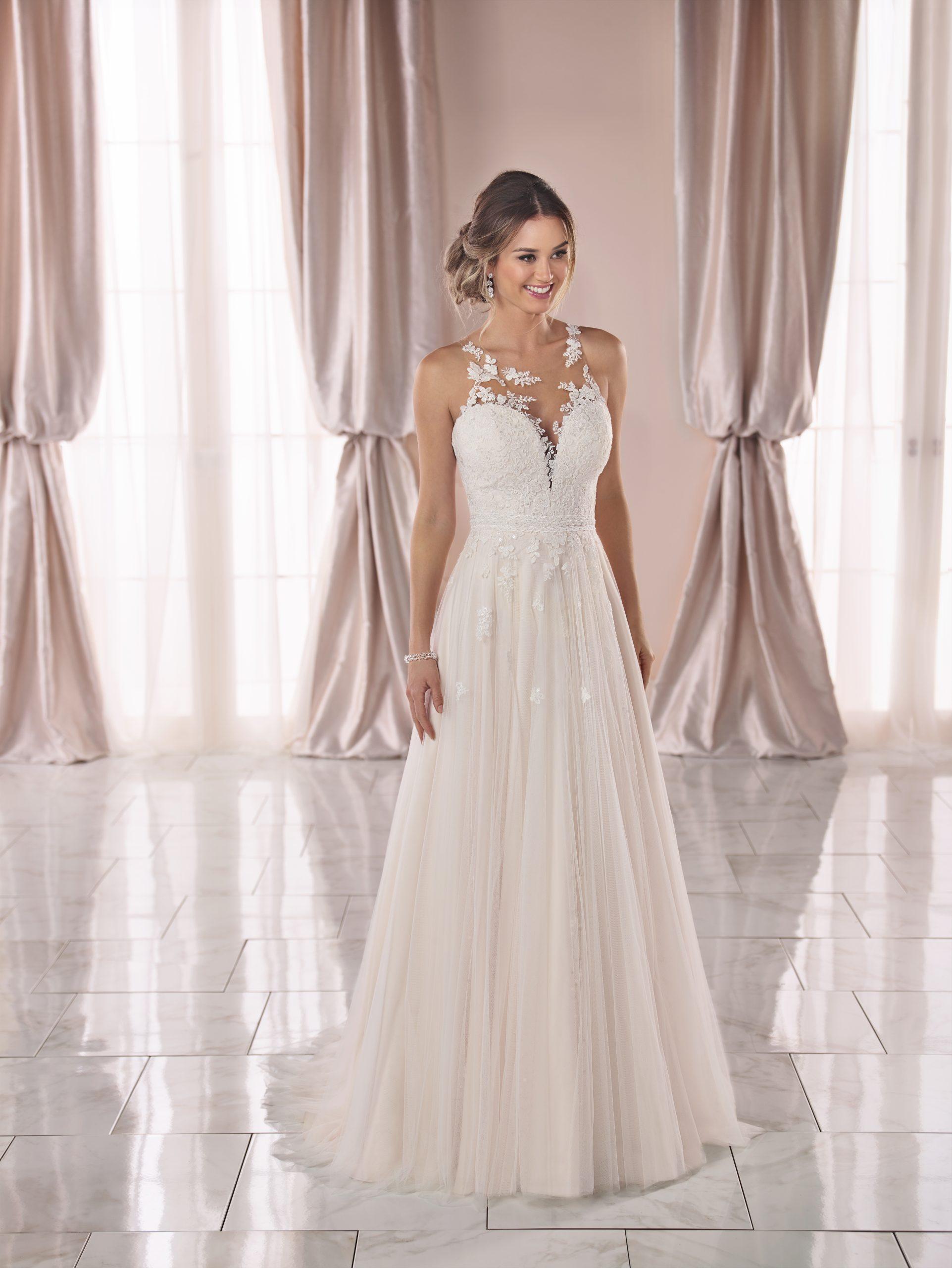 Sleeveless Lace Illusion Neckline A line Wedding Dress