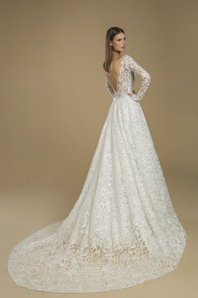 Long Sleeve A-line Embroidered Lace Wedding Dress by Love by Pnina Tornai - Image 2