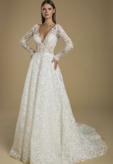 Long Sleeve A-line Embroidered Lace Wedding Dress by Love by Pnina Tornai - Image 1