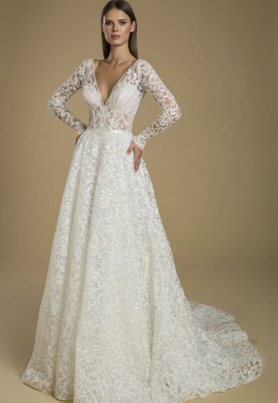 Long Sleeve A-line Embroidered Lace Wedding Dress by Love by Pnina Tornai