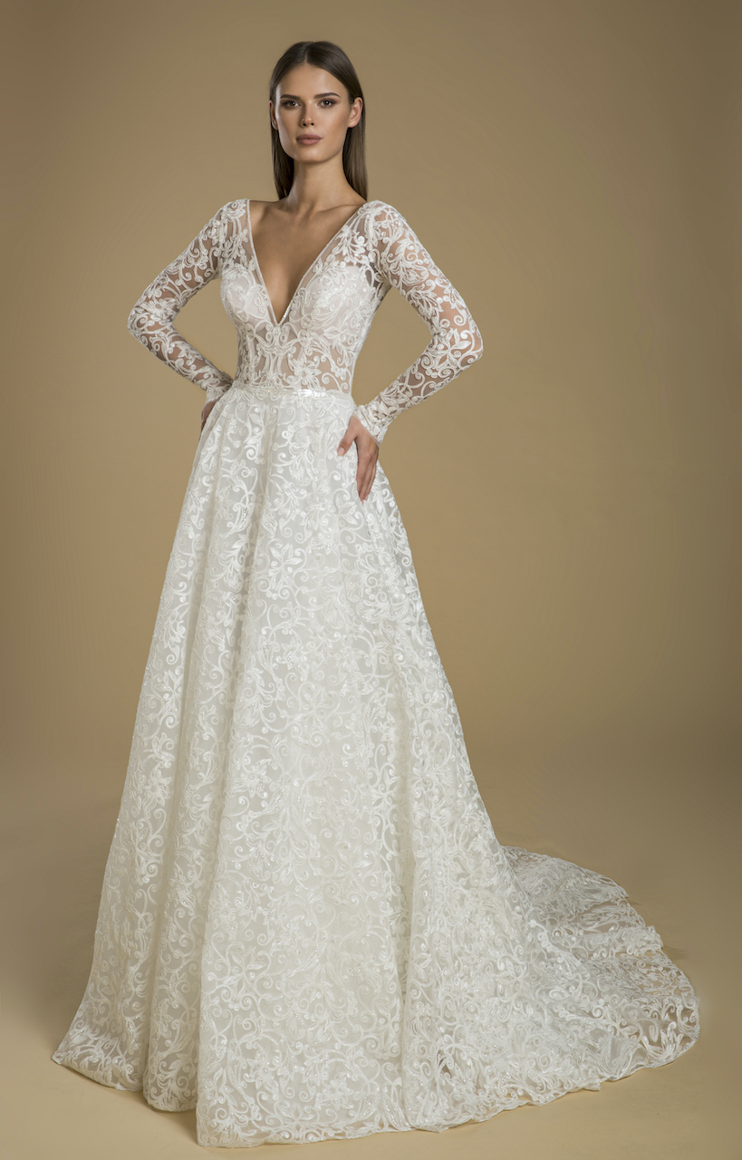 Long Sleeve A Line Embroidered Lace Wedding Dress Kleinfeld Bridal