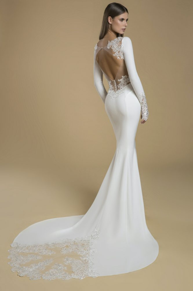 Long Sleeve Crepe Sheath Wedding Dress by Love by Pnina Tornai - Image 2