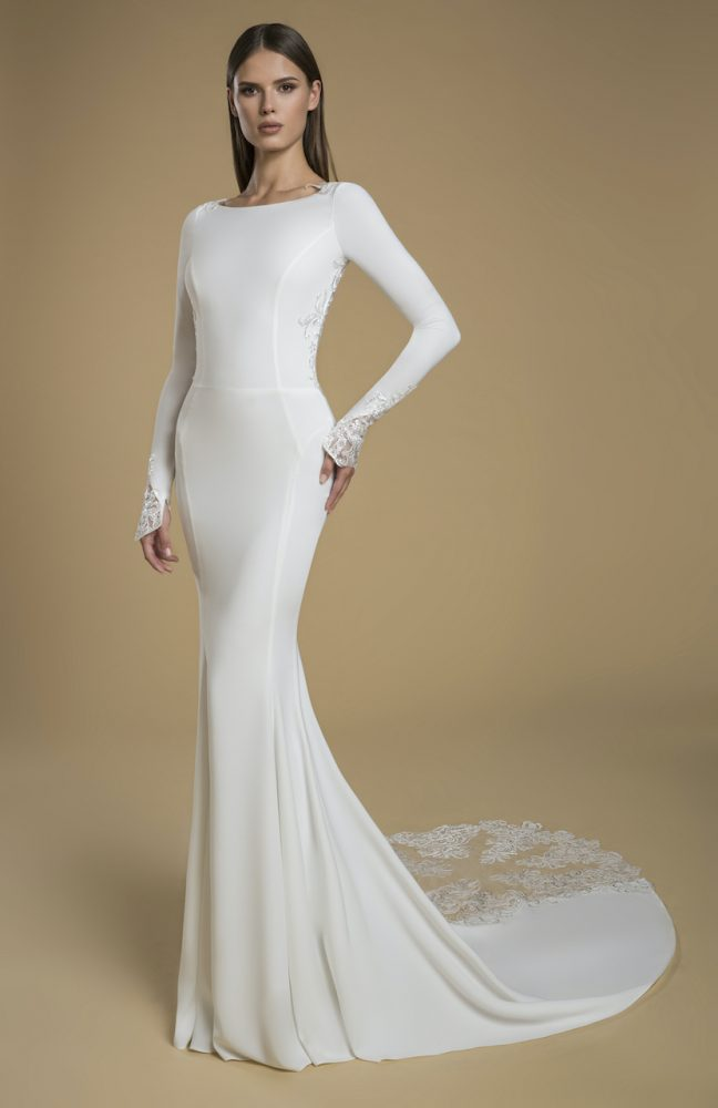 Long Sleeve Crepe Sheath Wedding Dress by Love by Pnina Tornai - Image 1