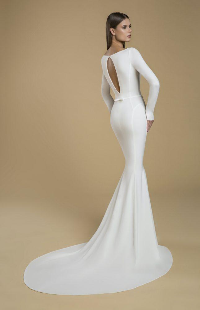 Long Sleeve Crepe Sheath Wedding Dress by Love by Pnina Tornai - Image 2