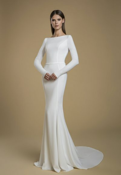 Long Sleeve Crepe Sheath Wedding Dress by Love by Pnina Tornai