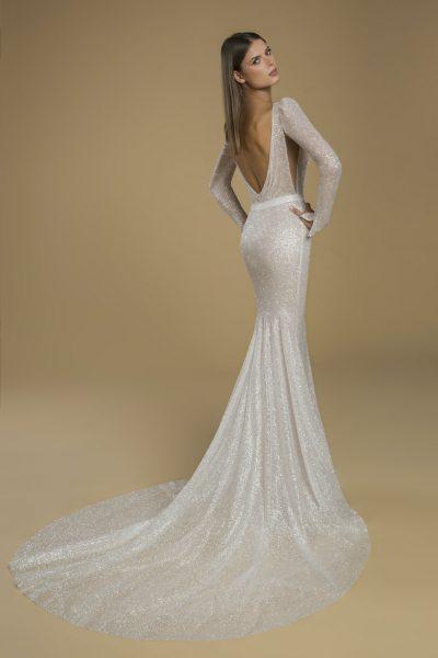 Long Sleeve Glitter Sheath Wedding Dress by Love by Pnina Tornai - Image 2