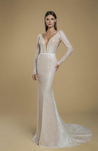 Long Sleeve Glitter Sheath Wedding Dress by Love by Pnina Tornai - Image 1