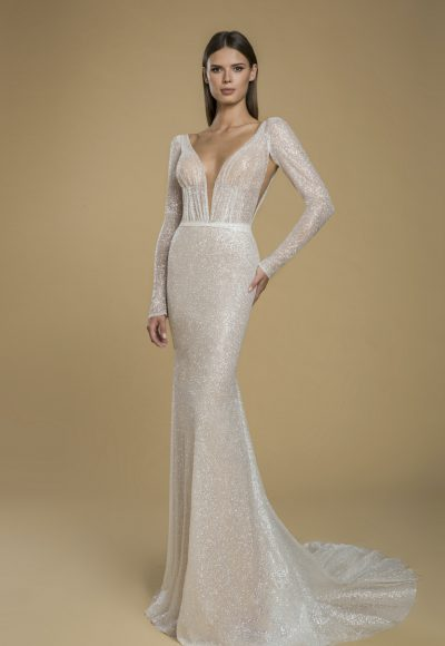 Long Sleeve Glitter Sheath Wedding Dress by Love by Pnina Tornai