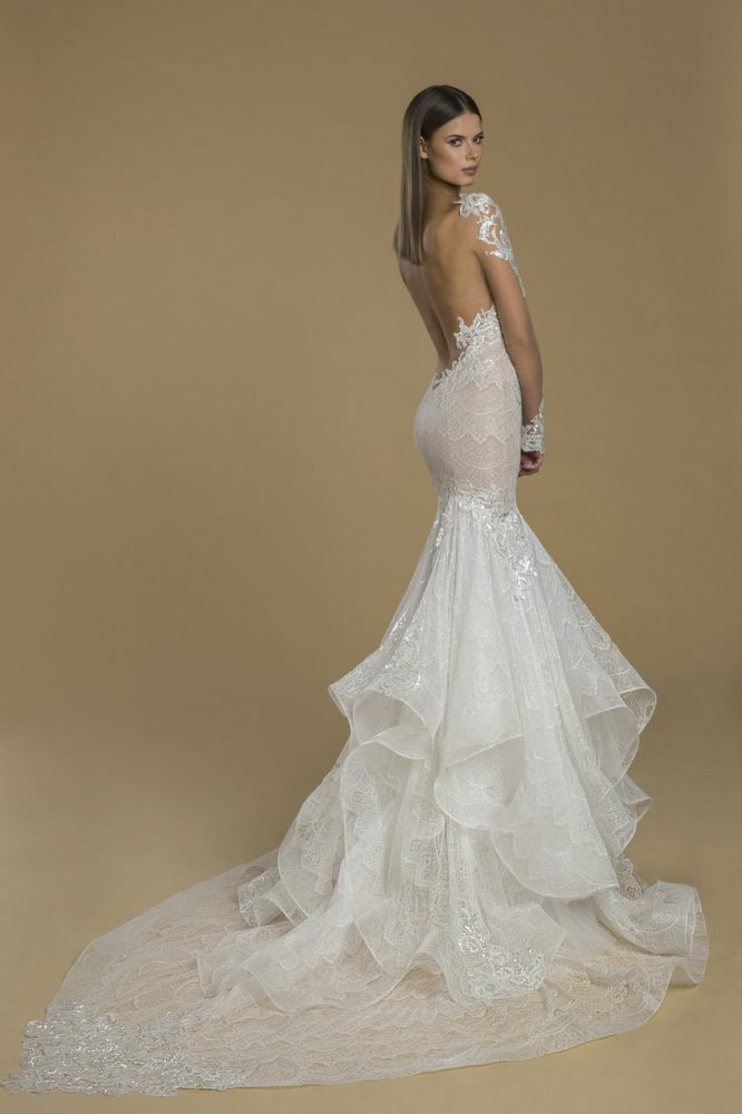 Long Sleeve Illusion Fit And Flare Lace Wedding Dress by Love by Pnina Tornai - Image 2