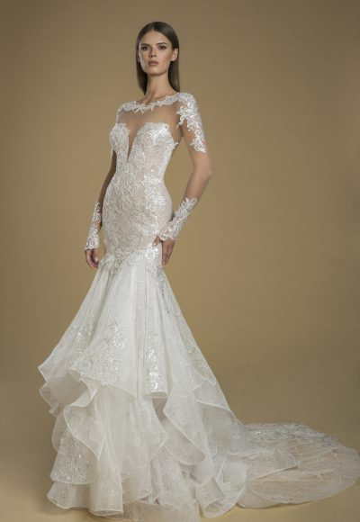 Long Sleeve Illusion Fit And Flare Lace Wedding Dress by Love by Pnina Tornai
