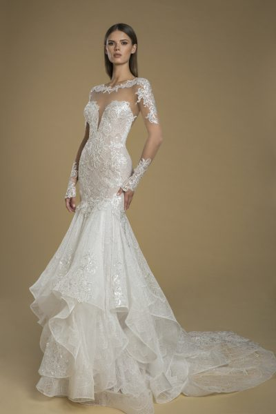 Long Sleeve Illusion Fit And Flare Lace Wedding Dress by Love by Pnina Tornai - Image 1
