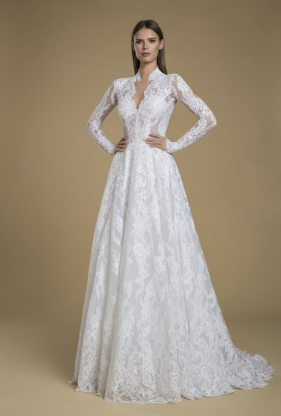 Long Sleeve Lace A-line Wedding Dress. by Love by Pnina Tornai - Image 1