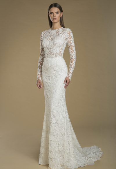 Long Sleeve Lace Sheath Wedding Dress by Love by Pnina Tornai