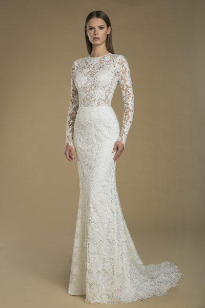 Long Sleeve Lace Sheath Wedding Dress by Love by Pnina Tornai - Image 1