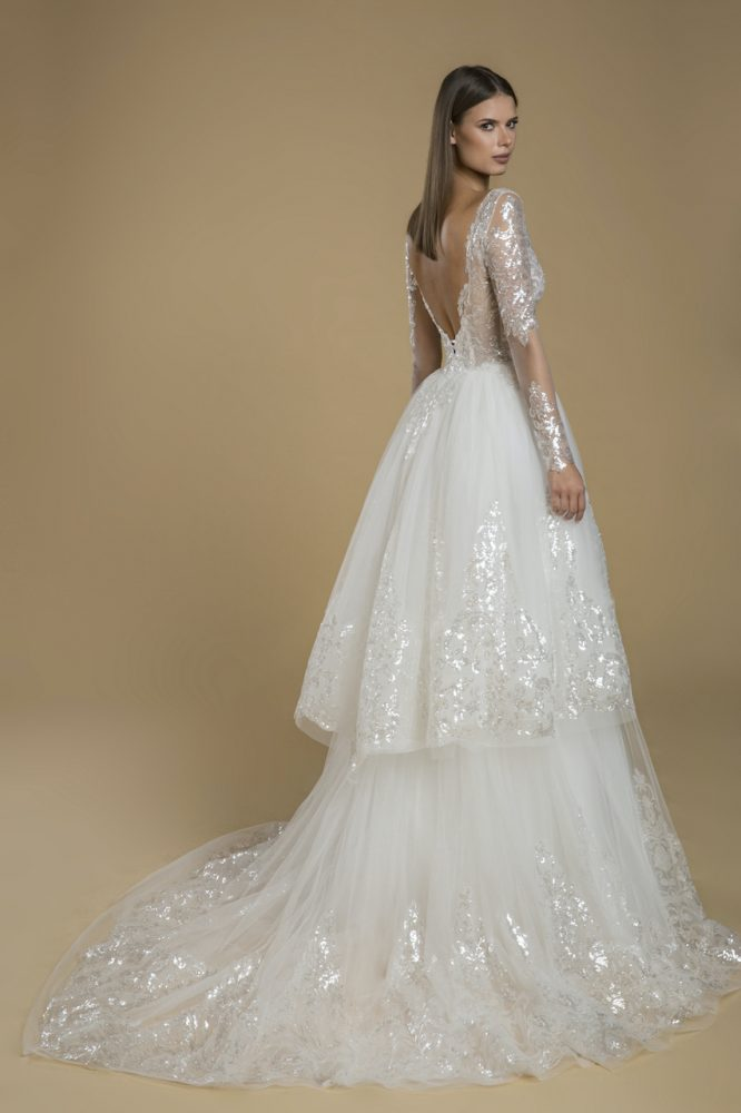 Long Sleeve Sequin Lace Tulle Ruffle Skirt Wedding Dress by Love by Pnina Tornai - Image 2