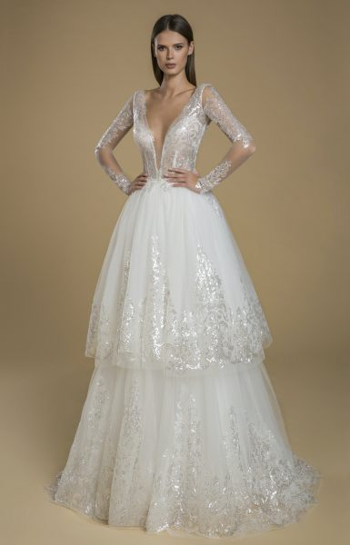 Long Sleeve Sequin Lace Tulle Ruffle Skirt Wedding Dress by Love by Pnina Tornai - Image 1