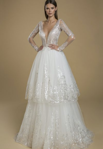 Long Sleeve Sequin Lace Tulle Ruffle Skirt Wedding Dress by Love by Pnina Tornai