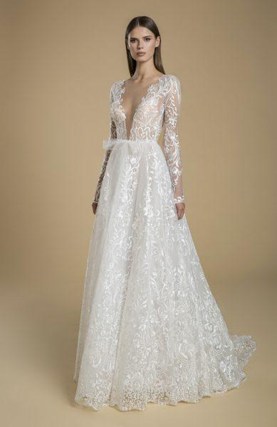 Long Sleeve V-neck A-line Wedding Dress by Love by Pnina Tornai - Image 1