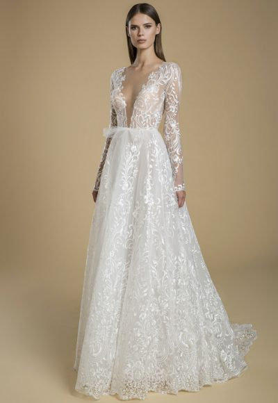 Long Sleeve V-neck A-line Wedding Dress by Love by Pnina Tornai