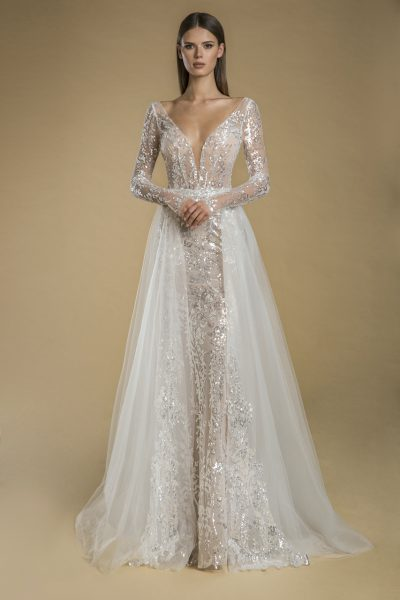 Long Sleeve V-neck Sequin Sheath Wedding Dress by Love by Pnina Tornai - Image 2
