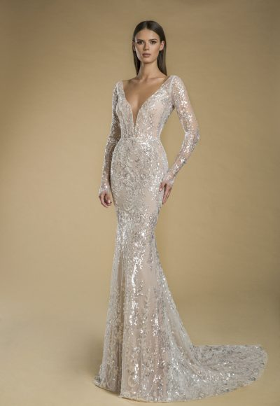 Long Sleeve V-neck Sequin Sheath Wedding Dress by Love by Pnina Tornai