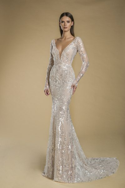 Long Sleeve V-neck Sequin Sheath Wedding Dress by Love by Pnina Tornai - Image 1