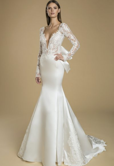 Long Sleeved Fit And Flare Satin Skirt With Lace Bodice Wedding Dress by Love by Pnina Tornai