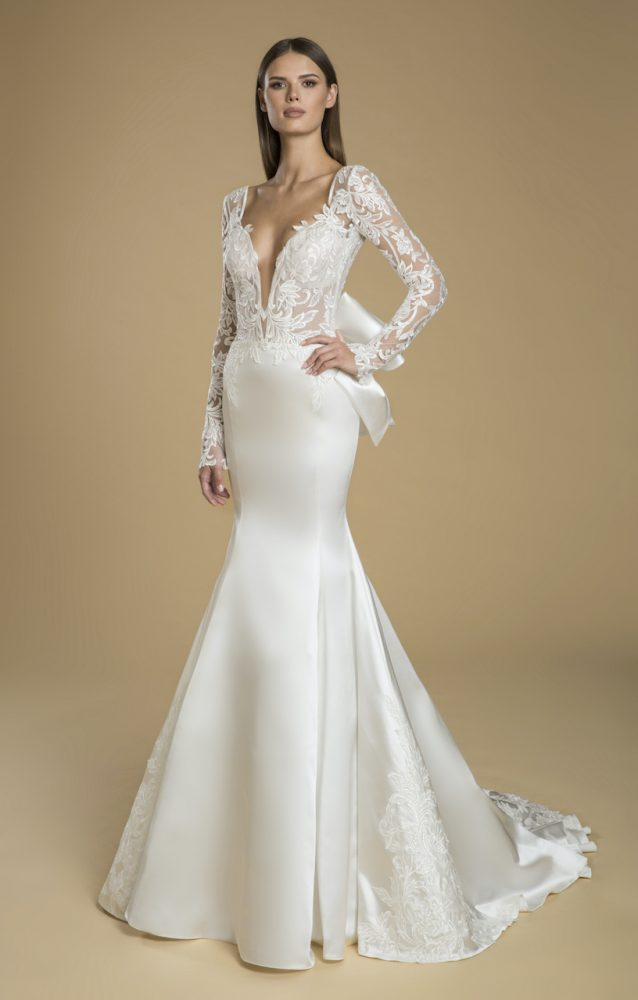 Long Sleeved Fit And Flare Satin Skirt With Lace Bodice Wedding Dress by Love by Pnina Tornai - Image 1