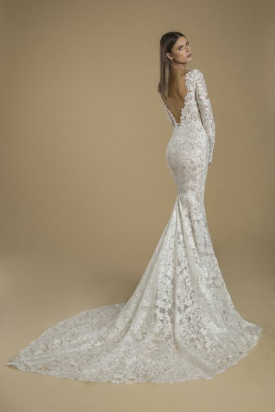 Long Sleeved Lace Sheath Wedding Dress With Low Back by Love by Pnina Tornai - Image 2