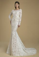 Long Sleeved Lace Sheath Wedding Dress With Low Back by Love by Pnina Tornai - Image 1