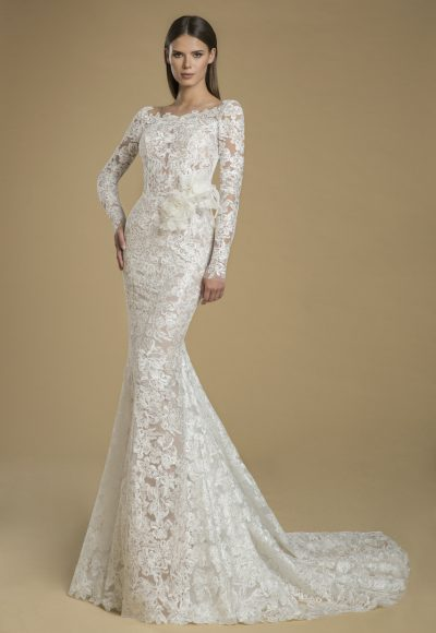 Long Sleeved Lace Sheath Wedding Dress With Low Back by Love by Pnina Tornai