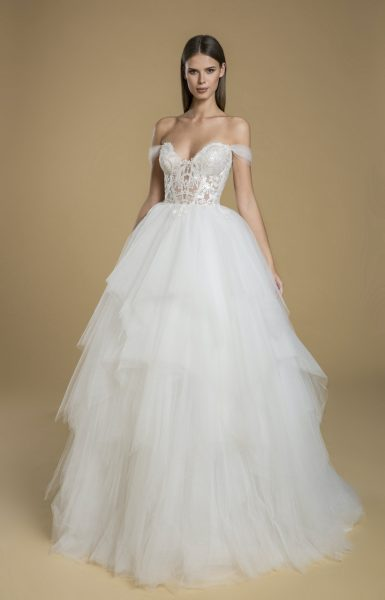 Off The Shoulder Ball Gown Tulle Wedding Dress by Love by Pnina Tornai - Image 1