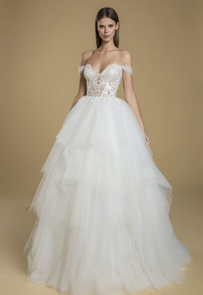 Off The Shoulder Ball Gown Tulle Wedding Dress by Love by Pnina Tornai
